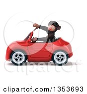 Clipart Of A 3d Chimpanzee Monkey Wearing Sunglasses Giving A Thumb Down And Driving A Red Convertible Car On A White Background Royalty Free Vector Illustration