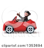 Clipart Of A 3d Chimpanzee Monkey Wearing Sunglasses Giving A Thumb Up And Driving A Red Convertible Car On A White Background Royalty Free Vector Illustration