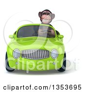 Clipart Of A 3d Chimpanzee Monkey Driving A Green Convertible Car On A White Background Royalty Free Vector Illustration