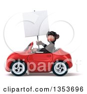 Clipart Of A 3d Chimpanzee Monkey Wearing Sunglasses Holding A Blank Sign And Driving A Red Convertible Car On A White Background Royalty Free Vector Illustration