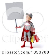 Clipart Of A 3d Young White Male Super Hero Mechanic In Gray And Red Holding Shopping Bags And A Blank Sign On A White Background Royalty Free Illustration