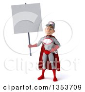 Clipart Of A 3d Young White Male Super Hero Mechanic In Gray And Red Holding A Blank Sign On A White Background Royalty Free Illustration