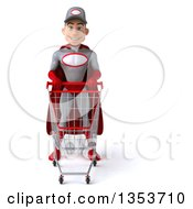 Clipart Of A 3d Young White Male Super Hero Mechanic In Gray And Red Standing With A Shopping Cart On A White Background Royalty Free Illustration by Julos