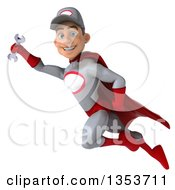 Clipart Of A 3d Young White Male Super Hero Mechanic In Gray And Red Flying On A White Background Royalty Free Illustration