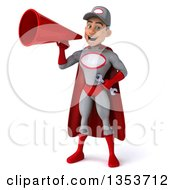 Clipart Of A 3d Young White Male Super Hero Mechanic In Gray And Red Using A Megaphone And Flying On A White Background Royalty Free Illustration