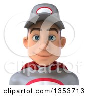 Clipart Of A 3d Avatar Of A Young White Male Super Hero Mechanic In Gray And Red On A White Background Royalty Free Illustration by Julos