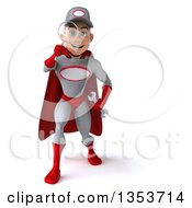 Clipart Of A 3d Young White Male Super Hero Mechanic In Gray And Red Searching With A Magnifying Glass On A White Background Royalty Free Illustration