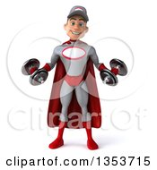 Clipart Of A 3d Young White Male Super Hero Mechanic In Gray And Red Working Out Doing Bicep Curls With Dumbbells On A White Background Royalty Free Illustration