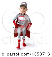 Clipart Of A 3d Young White Male Super Hero Mechanic In Gray And Red Holding A Wrench And Walking On A White Background Royalty Free Illustration