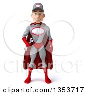 Clipart Of A 3d Young White Male Super Hero Mechanic In Gray And Red Holding A Wrench On A White Background Royalty Free Illustration
