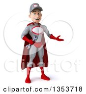 Clipart Of A 3d Young White Male Super Hero Mechanic In Gray And Red Presenting On A White Background Royalty Free Illustration