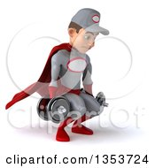 Clipart Of A 3d Young White Male Super Hero Mechanic In Gray And Red Working Out Doing Squats With Dumbbells On A White Background Royalty Free Illustration