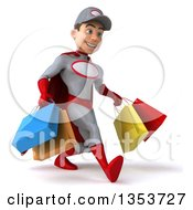 Clipart Of A 3d Young White Male Super Hero Mechanic In Gray And Red Holding Shopping Bags And Speed Walking On A White Background Royalty Free Illustration