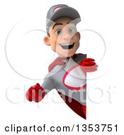 Clipart Of A 3d Young White Male Super Hero Mechanic In Gray And Red Pointing Outwards Around A Sign On A White Background Royalty Free Illustration