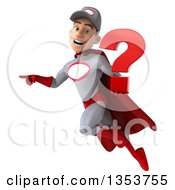 Clipart Of A 3d Young White Male Super Hero Mechanic In Gray And Red Holding A Question Mark Flying And Pointing On A White Background Royalty Free Illustration