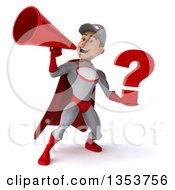 Clipart Of A 3d Young White Male Super Hero Mechanic In Gray And Red Holding A Question Mark And Using A Megaphone On A White Background Royalty Free Illustration