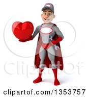 Clipart Of A 3d Young White Male Super Hero Mechanic In Gray And Red Holding A Love Heart On A White Background Royalty Free Illustration