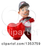 Clipart Of A 3d Young White Male Super Hero Mechanic In Gray And Red Holding A Love Heart Around A Sign On A White Background Royalty Free Illustration