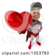 Clipart Of A 3d Young White Male Super Hero Mechanic In Gray And Red Holding Up A Love Heart On A White Background Royalty Free Illustration