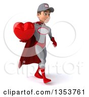 Clipart Of A 3d Young White Male Super Hero Mechanic In Gray And Red Holding A Love Heart And Walking On A White Background Royalty Free Illustration