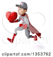 Clipart Of A 3d Young White Male Super Hero Mechanic In Gray And Red Holding A Love Heart And Sprinting On A White Background Royalty Free Illustration