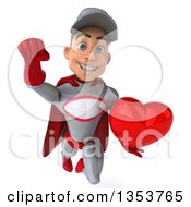 Clipart Of A 3d Young White Male Super Hero Mechanic In Gray And Red Holding A Love Heart And Flying On A White Background Royalty Free Illustration