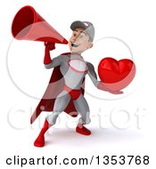 Clipart Of A 3d Young White Male Super Hero Mechanic In Gray And Red Holding A Love Heart And Using A Megaphone On A White Background Royalty Free Illustration