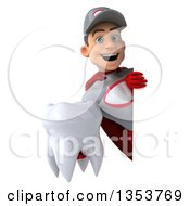 Clipart Of A 3d Young White Male Super Hero Mechanic In Gray And Red Holding A Tooth Around A Sign On A White Background Royalty Free Illustration