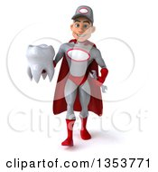 Clipart Of A 3d Young White Male Super Hero Mechanic In Gray And Red Holding A Tooth And Walking On A White Background Royalty Free Illustration