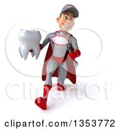Clipart Of A 3d Young White Male Super Hero Mechanic In Gray And Red Holding A Tooth And Speed Walking On A White Background Royalty Free Illustration