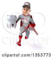 Clipart Of A 3d Young White Male Super Hero Mechanic In Gray And Red Holding A Tooth And Sprinting On A White Background Royalty Free Illustration