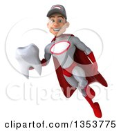 Clipart Of A 3d Young White Male Super Hero Mechanic In Gray And Red Holding A Tooth And Flying On A White Background Royalty Free Illustration