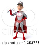 Clipart Of A 3d Young White Male Super Hero Mechanic In Gray And Red Holding Up A Finger And A Wrench On A White Background Royalty Free Illustration