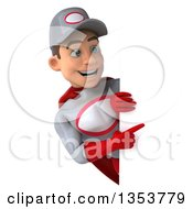 Clipart Of A 3d Young White Male Super Hero Mechanic In Gray And Red Pointing Around A Sign On A White Background Royalty Free Illustration