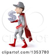 Clipart Of A 3d Young White Male Super Hero Mechanic In Gray And Red Holding A Dollar Currency Symbol And Walking On A White Background Royalty Free Illustration