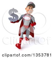 Clipart Of A 3d Young White Male Super Hero Mechanic In Gray And Red Holding A Dollar Currency Symbol And Speed Walking On A White Background Royalty Free Illustration