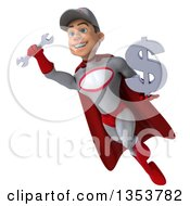 Clipart Of A 3d Young White Male Super Hero Mechanic In Gray And Red Holding A Dollar Currency Symbol And Flying On A White Background Royalty Free Illustration