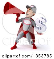 Clipart Of A 3d Young White Male Super Hero Mechanic In Gray And Red Holding A Dollar Currency Symbol And Using A Megaphone On A White Background Royalty Free Illustration
