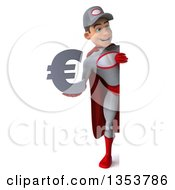 Clipart Of A 3d Full Length Young White Male Super Hero Mechanic In Gray And Red Holding A Euro Currency Symbol Around A Sign On A White Background Royalty Free Illustration