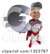 Clipart Of A 3d Young White Male Super Hero Mechanic In Gray And Red Holding Up A Euro Currency Symbol On A White Background Royalty Free Illustration
