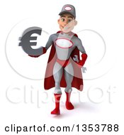 Clipart Of A 3d Young White Male Super Hero Mechanic In Gray And Red Holding A Euro Currency Symbol And Walking On A White Background Royalty Free Illustration