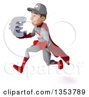 Clipart Of A 3d Young White Male Super Hero Mechanic In Gray And Red Holding A Euro Currency Symbol And Sprinting On A White Background Royalty Free Illustration