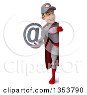 Clipart Of A 3d Full Length Young White Male Super Hero Mechanic In Gray And Red Holding An Email Arobase At Symbol Around A Sign On A White Background Royalty Free Illustration