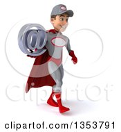 Clipart Of A 3d Young White Male Super Hero Mechanic In Gray And Red Holding An Email Arobase At Symbol And Walking On A White Background Royalty Free Illustration