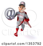 Clipart Of A 3d Young White Male Super Hero Mechanic In Gray And Red Holding An Email Arobase At Symbol And Sprinting On A White Background Royalty Free Illustration