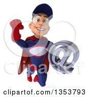 Clipart Of A 3d Young White Male Super Hero Mechanic In Red And Dark Blue Holding An Email Arobase At Symbol And Flying On A White Background Royalty Free Illustration