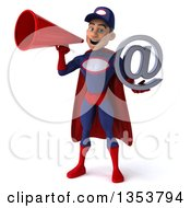 Clipart Of A 3d Young White Male Super Hero Mechanic In Red And Dark Blue Holding An Email Arobase At Symbol And Using A Megaphone On A White Background Royalty Free Illustration
