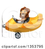 3d Male Lion Aviator Pilot Aviatior Pilot Flying A Yellow Airplane On A White Background