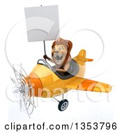 3d Male Lion Aviator Pilot Aviatior Pilot Holding A Blank Sign And Flying A Yellow Airplane On A White Background