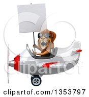 Clipart Of A 3d Male Lion Aviator Pilot Aviatior Pilot Wearing Sunglasses Holding A Blank Sign And Flying A White And Red Airplane On A White Background Royalty Free Vector Illustration